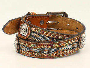 Ariat Boy's Leather Weave Ribbon Inlay with Conchos Western Belt