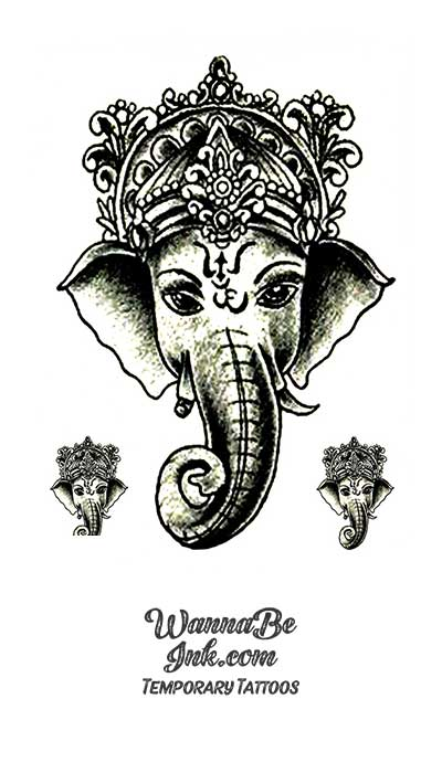 3 Crowned Elephants Best Temporary Tattoos
