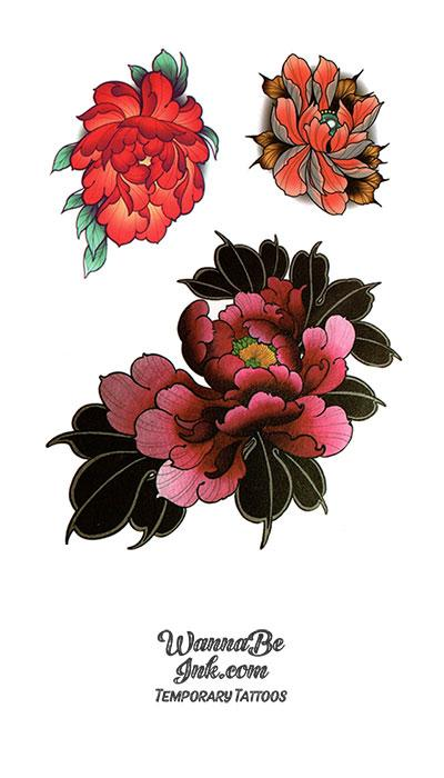 3 Flowers Best Temporary Tattoos