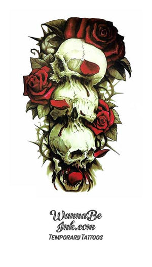 3 Skulls With Roses Best Temporary Tattoos