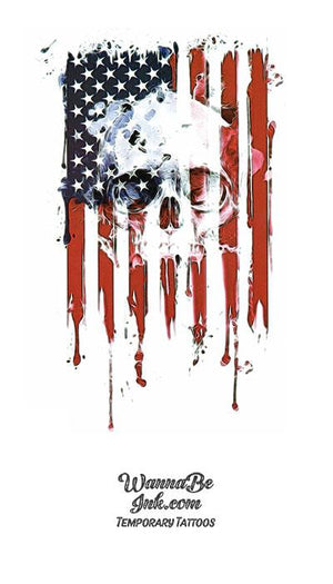 American Flag with Punisher Skull in White Best Temporary Tattoos