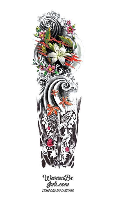 Ancient Japanese Style Dagger Dove Roses Lilly Waves Temporary Sleeve Tattoos