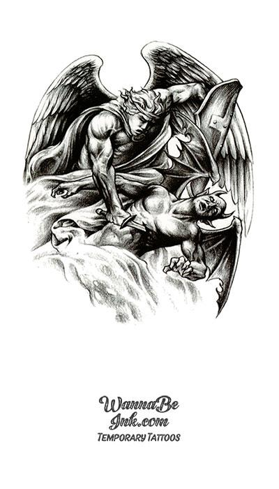 Angel Warrior and Woman Best Temporary Tattoos