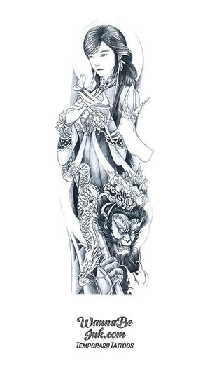 Asian Sorceress with Butterflies Lotus Monkey Warrior and Dragon Temporary Sleeve Tattoos