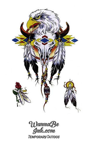 Bald Eagle Longhorn Skull and Feathers Best Temporary tattoos