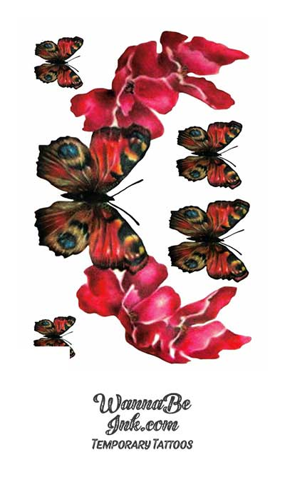 Beautiful Butterflies and Red Flowers Best Temporary Tattoos