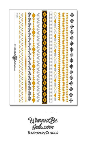 Black and Gold Diamond and Waves Pattern Metallic Temporary Tattoos