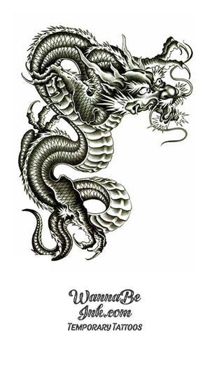 Black and White Chinese Dragon Best Temporary Tattoos