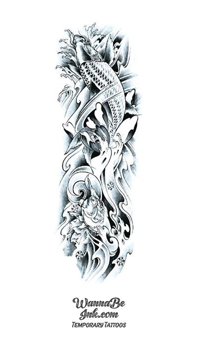 Black and White Koi Fish in Water Temporary Sleeve Tattoos