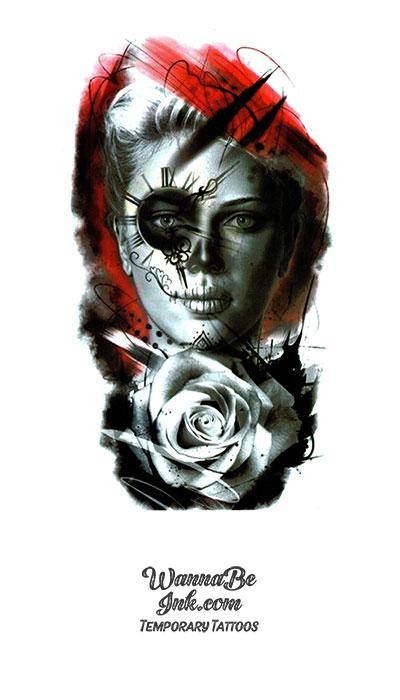 Black and White Rose Woman With Compass Eye Red Background Best temporary Tattoos