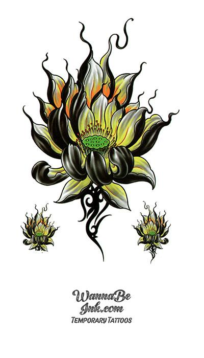 Black and Yellow Lotus Blossom Best Temporary Tattoos