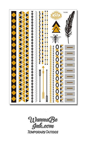 Black Bee Arrows and Feather Designs Metallic Temporary Tattoos