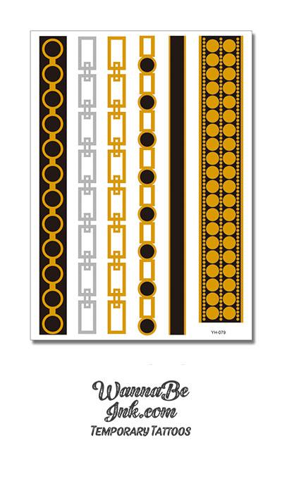 Black Circles Gold and Silver Square Chain Pattern Metallic Temporary Tattoos