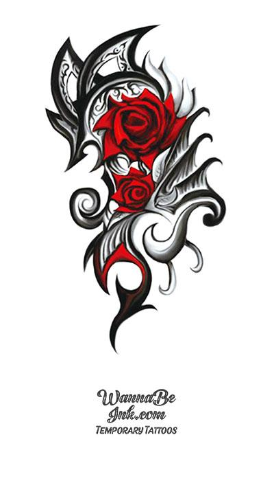 Black Roses and Dragon Wings Best Temporary Tattoos