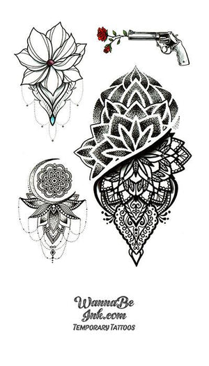 Blossoms Revolver and Moon Best temporary Tattoos