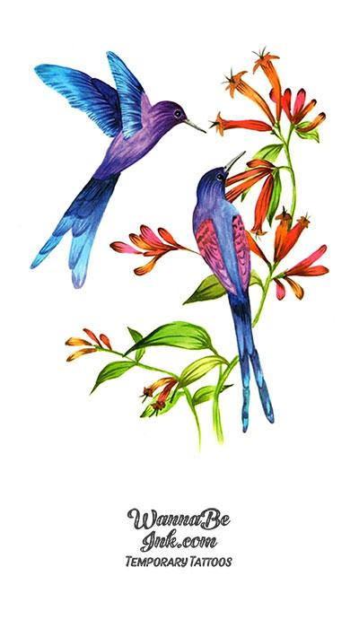 Blue Birds and Flowers Best Temporary Tattoos