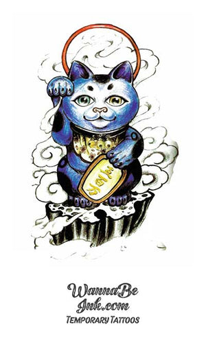 Blue Buddha Cat with Moon Overhead Best Temporary Tattoos