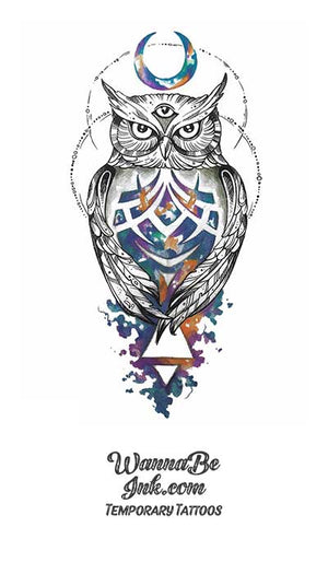 Blue Jeweled Owl Under Crescent Moon Best Temporary Tattoos