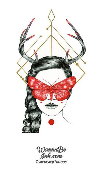 Braided Woman Red Butterfly Mask Antlers Best Temporary Tattoos