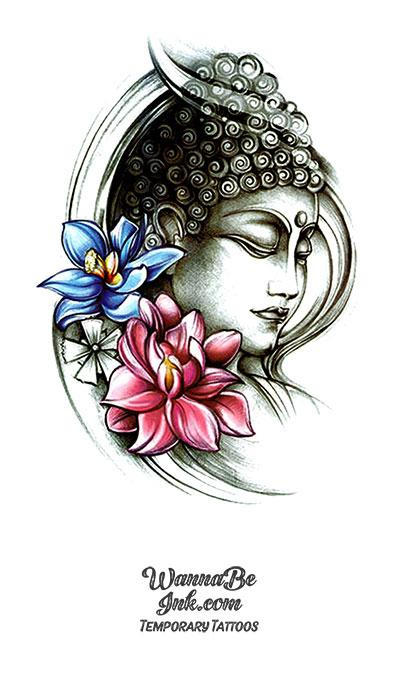 Buddha face Profile and Blue and Pink Lotus Blossoms Best Temporary Tattoos