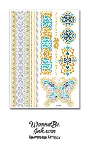 Butterfly with Light and Dark Blue and Woven Floral Patterns Metallic Temporary Tattoos