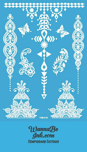 Butterfly Floral and Geometric Pattern Hennah Style White Temporary Tattoo Sheet