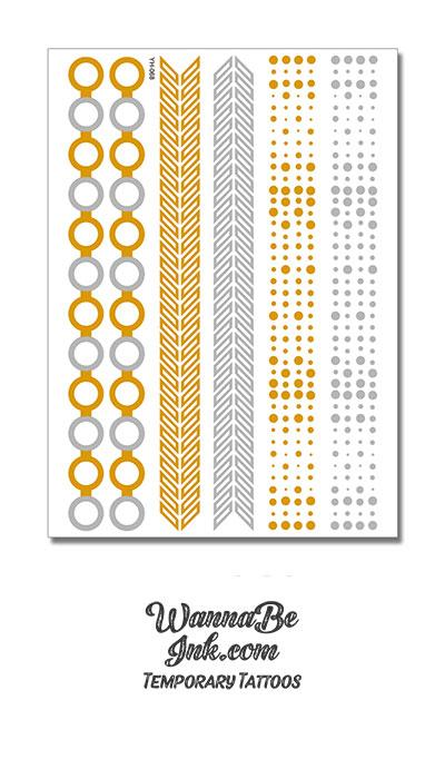 Circle Links in Wide Bands Silver and Gold Metallic Temporary Tattoos