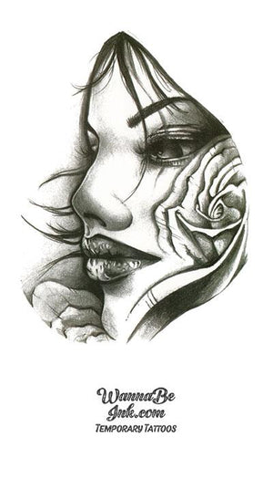 Close Up Face of Woman WIth Rose in Hair Best Temporary Tattoos