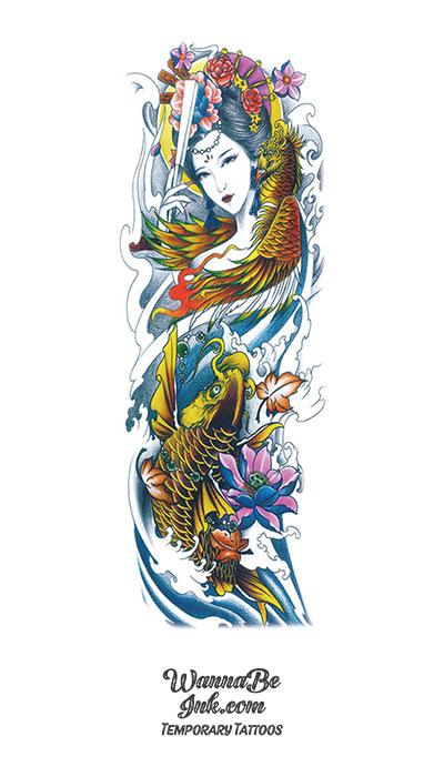Colorful Asian Goddess with Phoenix Gold Koi Fish and Pink Blue Lotus Temporary Sleeve Tattoos