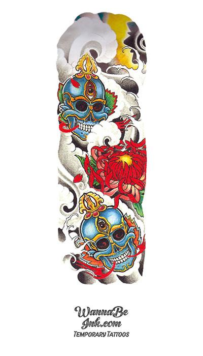 Colorful Asian Skulls with Lotus Temporary Sleeve Tattoos