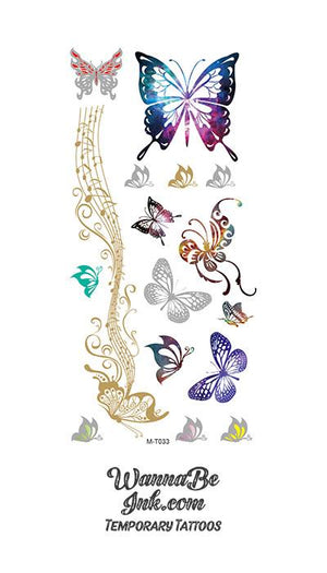 Colorful Butterflies with Golden Notes of Music Temporary Metallic Tattoos