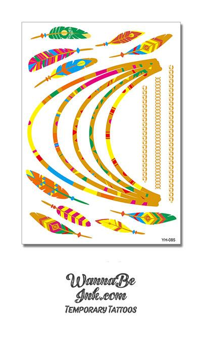 Colorful Feathers and Beaded Necklace Metallic Temporary Tattoos