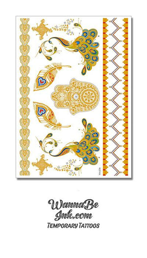 Colorful Gold Green and Blue Peacocks with Gold Hamsa and Feathers Metallic Temporary Tattoos