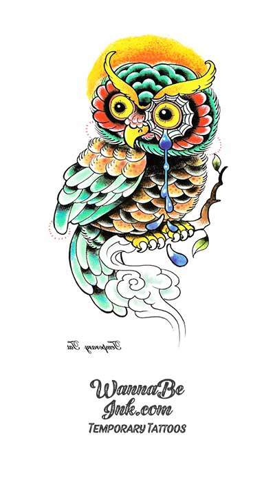 Colorful Owl With Wide Yellow Eyes Best Temporary Tattoos