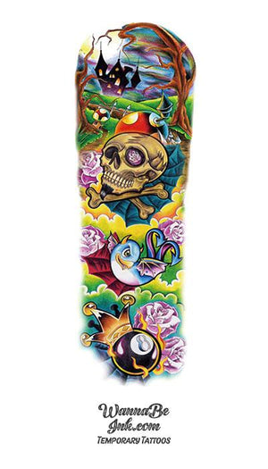 Colorful Skull & Crossbones Castle Bird 8 Ball and Roses Temporary Sleeve Tattoos