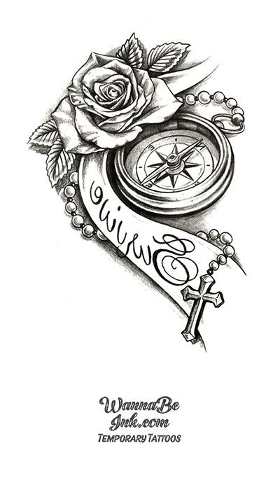 Compass Cross and Rose Best Temporary Tattoos