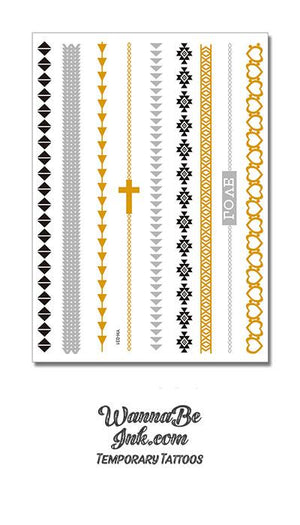 Cross Inspired Design with Hearts in Bands of Gold Temporary Metallic Tattoos