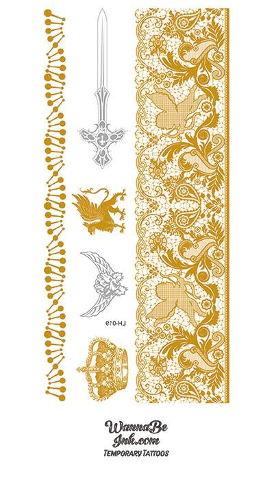 Cupid Griffon Sword and Crown in Gold Temporary Tattoos