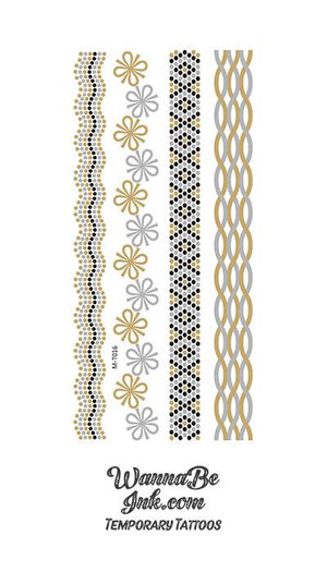 Daisy and Diamond Designs and Weaves Metallic Temporary Tattoos