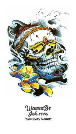 Decorative Asian Skull with Golden Yellow Eyes Best Temporary Tattoos