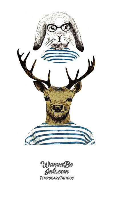 Deer And Rabbit in Russian Sailor Shirts Best Temporary Tattoos
