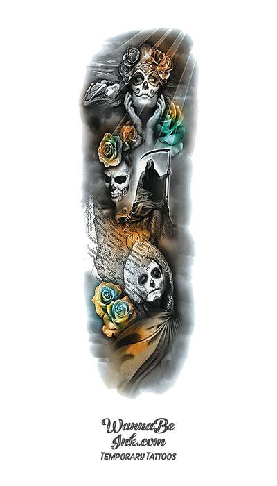 Dia De Los Muertos Roses Death Woman Temporary Sleeve Tattoos