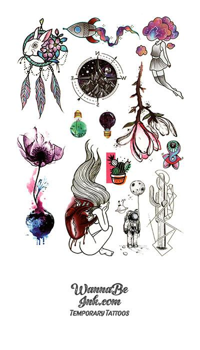 Dream Catcher Compass and Fantasy Shapes Best Temporary tattoos