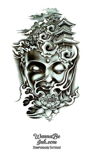 Elaborate Buddha Face Morphed Into Temple Best Temporary Tattoos