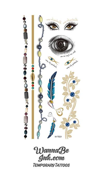Eyes Beaded Necklaces and Blue Feathers Metallic Temporary Tattoos
