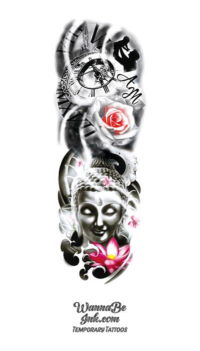 Father and Son Clock Roses Pink Lotus and Asian Goddess Temporary Sleeve Tattoos
