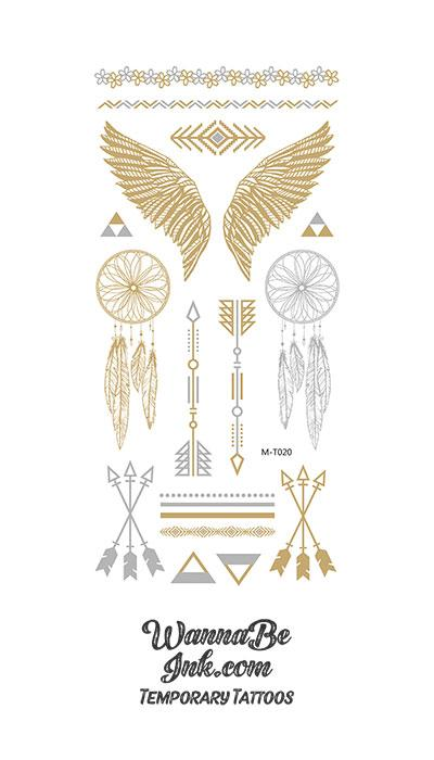 Feathers Arrows and Dream Catchers in Gold And Silver Temporary Tattoos