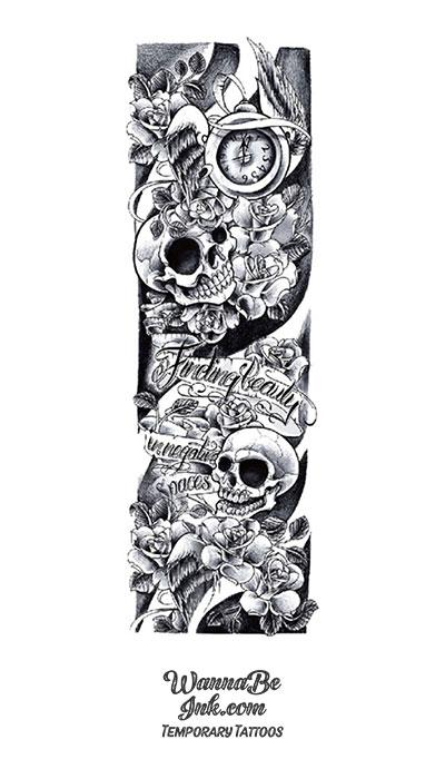 """Finding Beauty in Negative Spaces"" Clock Flowers and Skulls Temporary Sleeve Tattoos"
