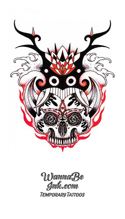Flaming Sugar Skull With Antlers Best temporary Tattoos