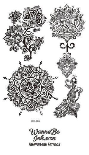 Flower Pattern Mandala Hennah Style Black Temporary Tattoo Sheet